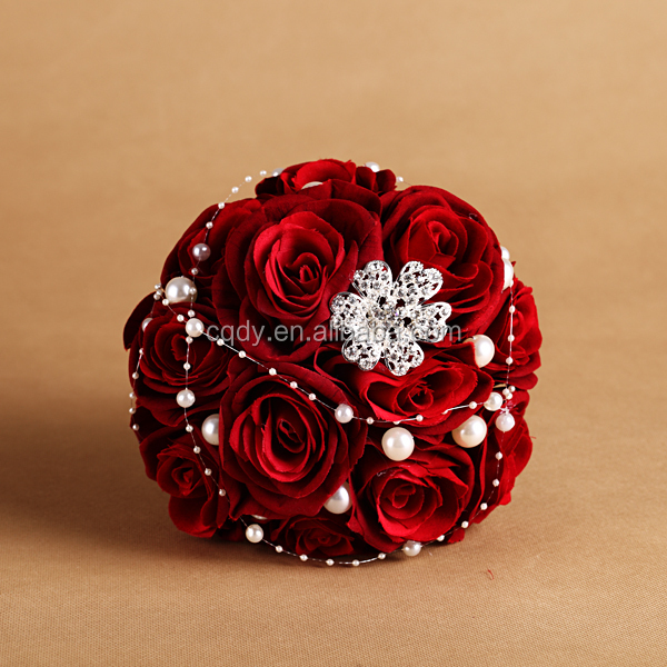 Luxury Red Rose Brooch Artificial Flower Bouquet Wedding Bouquet ...