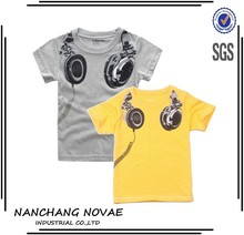 Wholesale New Headphone Design T Shirt Boys Kids Short Sleeve Tops T-Shirt Tees 100%Cotton Kids Clothing