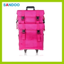 Cosmetic 2 compartments soft colorful rolling organizer bag, trendy beautiful professional makeup trolley case