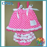 Pink dots baby girls chevron clothing sets with ruffle cotton baby swing top set