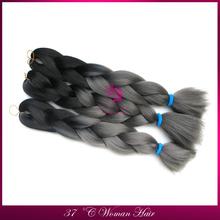 XISHIXIU FREE SHIPPING grey ombre kanikalon braiding hair extensions black+dark grey color synthetic jumbo braids in stock