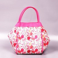 Large flower pattern handled PVC shopping bags made in china