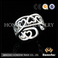 Full love heart pattern hollow 925 silver finger rings open ring