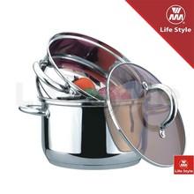 3pcs Stainless steel steamer set for kitchen