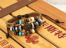 Leather bracelet cross charm multilayer weaving 100% leather bracelet and bangle beaded Jesus birthday accessories wholesale