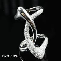 Duoying New Brand Stylish Rhodium Plating Cross Branch Shaped CZ Setting Value 925 Silver Ring