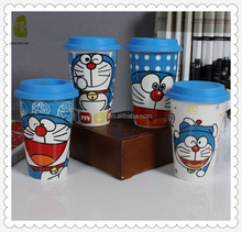 Best Selling Double Wall Insulated Ceramic Cup With Silicone lid