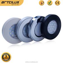 High power DC12V 2W Aluminium puck light, 1.8W Plastic round led downlights for furniture design