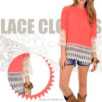Wholesale Woman Blouse Lace Models Chiffon Style Blouses For Women HSD6006