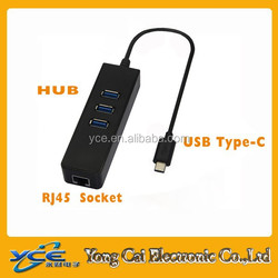 2015 wholesale 3 port USB 3.1 to RJ45 10 / 100 / 1000Mbps Ethernet Adapter