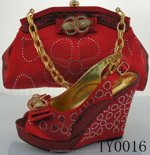Unique design custom all kinds of Bag Set/shoes and matching bag set wedge heel 12 cm TY0016-RED