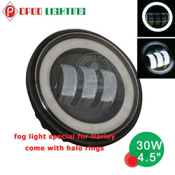 2015 hot new motorcycle spare parts 30w halo ring 4.5'' led headlight for Harley