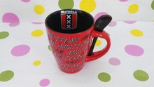 11oz red black two tone ceramic mugs with spoon