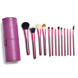 New 13pcs Quality Professional Purple Brand Kolinsky Hair Makeup Brushes Set With Leather Case