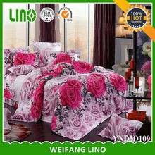 dark pink 3d floral duvet set 3d cotton sublimation transfer printing on cotton fabric