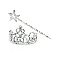 Large pageant crown magic wand and royal metal crowns