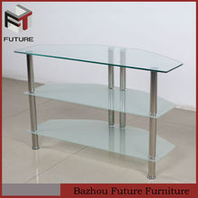 LCD tv table clear and frost glass stainless steel leg
