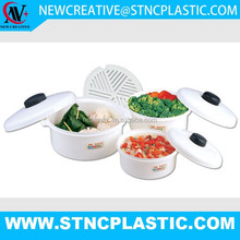 3PCS SET ROUND SHAPE PLASTIC MICROWAVE STEAMER WITH INNER SIEVE