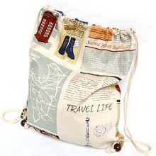 Wholesale Shopping Bags, Comfortable And Convenient Canvas Drawstring Backpack