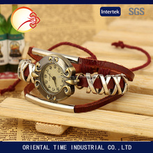 2016 New Fashion Women Leather Wrist Watch Bracelet Retro Vintage Weave Wrap Quartz Watch lady wrist watch