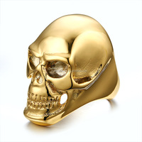 Stainless Steel Skull Gold Biker Rings without Stone for Men Wholesale
