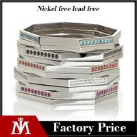 Elegant Silver Shiny Stainless Steel Party Jewelry Gemstone Crystal Bangle Bracelet for Women