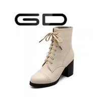 GD 2015 PU leather Ladies boots high heel half women short boot fashion footwear shoes