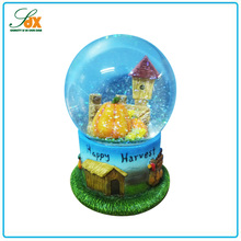 Newest resin crafts 100mm happy harvest thanksgiving day snow globes