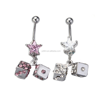 DDQ15694 316L Surgical Steel 14G Dice Dangle Navel Belly Button Ring Barbell