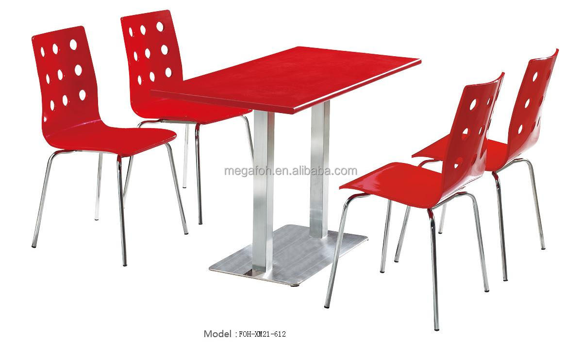 European style fast food restaurant dining table and