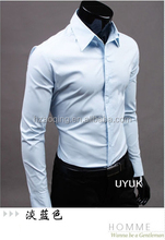 2015 New Brand Men Shirt solid Business Formal Shirt Long Sleeve slim fit Casual Male Social Dress Shirts mens XXXL