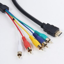 1.5m/5ft OEM 24K gold HDMI Male to 5 RCA RGB Audio Video AV Component Cable