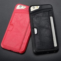New Arrive TPU Leather Fitted Wallet Card Phone Case For Apple iPhone 6 4.7