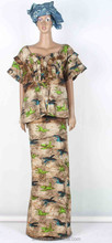WR13009 high quality retro african bazin dresses/ soft bazin clothes/lady already made clothing