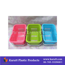 Bathroom organizing plastic basket with handles