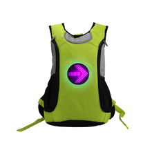 High Reflective safe light cycling trekking rucksack bag, Hi Vis LED turn signal backpack with wireless remote control function