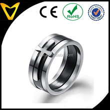 Fashion Jewelry Classic Three in One Black Cross Stainless Steel Men's Ring Finger Band