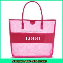 Ladies pink large mesh beach tote bag