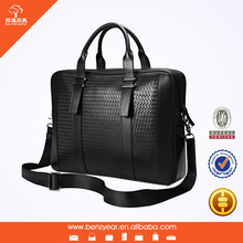 Hot Sell Italian Trendy Mens Black Genuine Leather Laptop Shoulder Document Bag