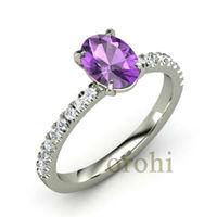 oval cut amethyst ring,gemstone semi mount ring14ct white gold amethyst with diamond ring HG307-Amethyst-W
