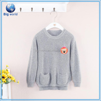 2015 best sell promotional kids sweaters girl's pullovers hand knit sweater designs for girls, cotton sweater