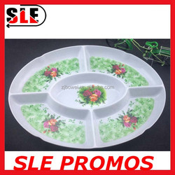 Five-divided more size dishes, flower print plastic melamine serving dishes,5 compartment fruit&snack plate for hotel&home