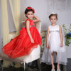 pictures for children gown,long dresses for kids,latest red party wear dresses for girls with high quality