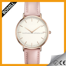 Private Label Watch Manufacturer Pink Strap White Face Rose Gold Ladies Quartz Concept Watches