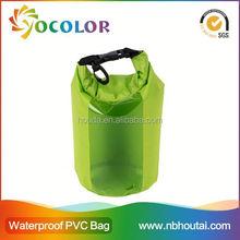 Durable Brilliant green Bag with Single Black Adjustable Strap Dry Bag Backpack