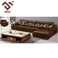 Modern leather extra long sofa