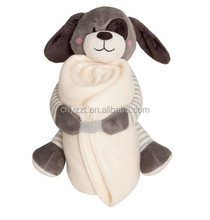 2016 new product soft baby toy stuffed plush toy blanket animal with blanket
