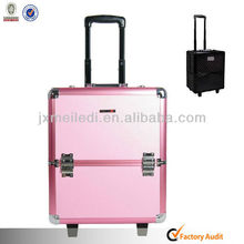 High Quality Rolling Peach Aluminium Luggage Cases With Trolley Wheels
