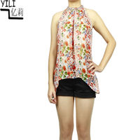 New Arrival Bright Floral Printed Chiffon Blouse, Halter Neck Blouse