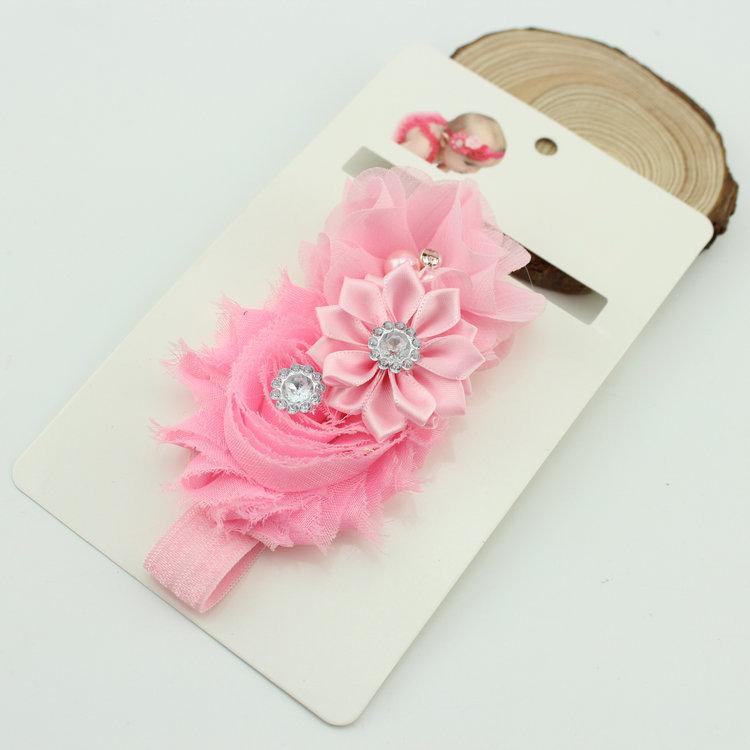 Hecho a mano de la tela satén flores hairbands accesorios del pelo del bebé con el